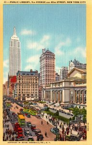 New York City Public Library 5th Avenue and 42nd Street Curteich