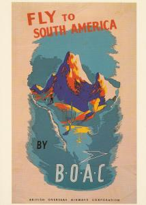 Fly To South America By BOAC Plane Travel Flight Poster Advertising Postcard