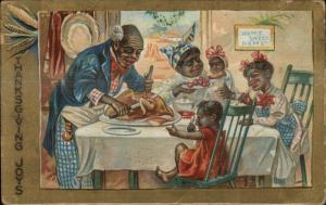 Black Americana Thanksgiving - Black Family at Dinner c1910 Postcard