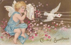Valentine's Day Cupid On Telephone 1910
