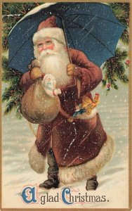 A Glad Christmas  Brown Suited Santa Claus Postcard