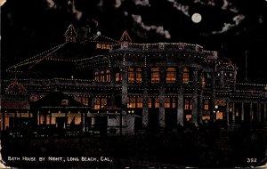 California Long Beach Bath House By Night 1917