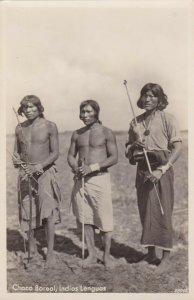 RP: 3 Indian men w/ Bow & Arrows; Chaco Boreal, Indios Lenguas,Paraguay, 10-30s