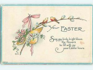 1917 Easter signed DUIK - BIRDS & STRAW HAT FILLED WITH FLOWERS & RIBBON o5575