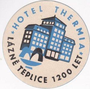 Czechoslovakia Lazne Teplice Hotel Thermia Vintage Luggage Label lbl0817