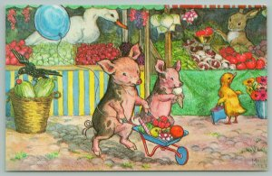 Molly Brett Fantasy~When Piglets Go To Market~Ice Cream Cone~Wheelbarrel Full