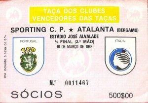 C0864 - Vecchio BIGLIETTO PARTITA CALCIO - 1988: ATALANTA - SPORTING Portugal