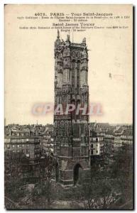 Paris - 4 - St Jacques Tower - Old Postcard
