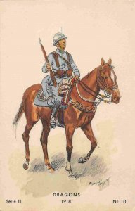 Dragons French Dragoons Cavalry 1918c WWI France postcard