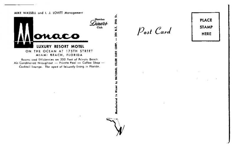 1950s/60s Monaco Luxury Resort Motel, Miami Beach, FL Postcard