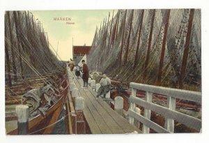 Netherlands Marken Haven Holland Pier Dock Fishing Boats Nets Trenkler Postcard