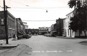 A65/ Peotone Illinois Il Real Photo RPPC Postcard c40s Second St Stores Autos 3