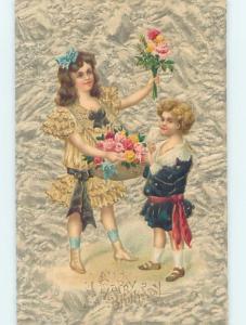 Pre-Linen PRETTY GIRL HOLDING FLOWER BASKET BESIDE HER LITTLE BROTHER HL5221