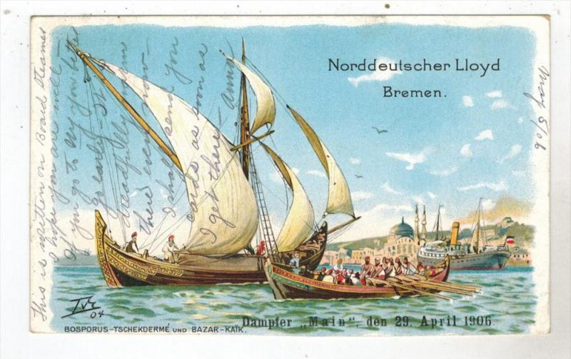 2678  R.M.S. Bremen Ship Postcard and Ship Cancel