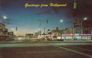 HOLLYWOOD , Florida, 1940-60s ; Hollywood Blvd at night from the circle