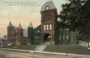 NEW BRITAIN , Connecticut, 1909; Armory & St. John's Evangelical Lutheran Church