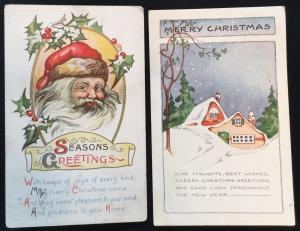 Postcard (2) Season Greetings/Christmas 12/1922  12/1924 LB
