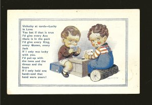 Donald McGill New Comics Two Children Playing Cards Constance London Postcard