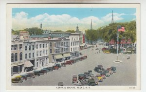 P2023 vintage birds eye view many old cars central sq keene new hampshire unused