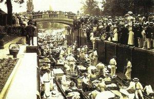 Nostalgia Postcard June 1913 Ascot Week, Boulters Lock, Maidenhead, Repro NS4