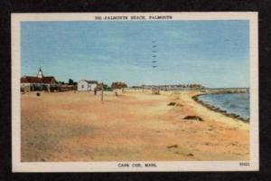 MA FALMOUTH BEACH CAPE COD MASSACHUSETTS Postcard Linen