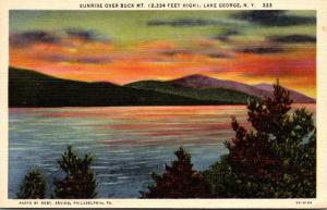 New York Lake George Sunrise Over Buck Mountain Curteich