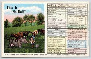 Busy Person Correspondence Card~Little Girl Milks Cow~This is No Bull~1940 Linen