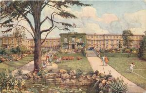 Bath Somerset~The Spa Hotel~Flower Gardens~Girl Plays Tennis 1928~Artist S Poole