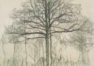 Piet Mondrian The Study Of Trees 1912 Rare Painting Postcard