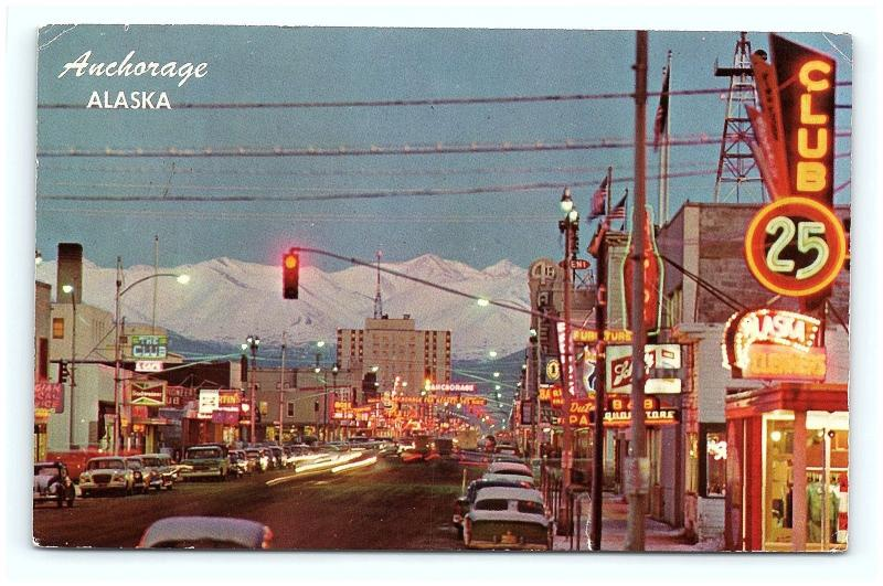 Postcard AK Anchorage Main Street View c1950s Old Cars Neon Signs Old Stores G15