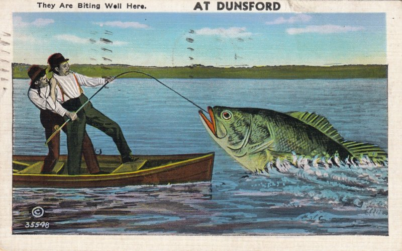 P1729 Huge Fish They're Biting Well dunsford canada Funny Humor Vintage Postcard