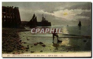 Old Postcard Boulogne Sur Mer The two piers Night Effect