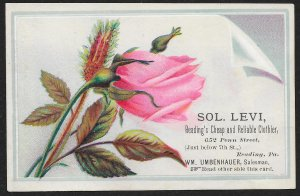 VICTORIAN TRADE CARD Levi Cheap & Reliable Clothier Pink Rose