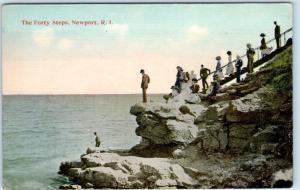 NEWPORT, Rhode Island  RI    THE FORTY STEPS  People  ca 1910s    Postcard