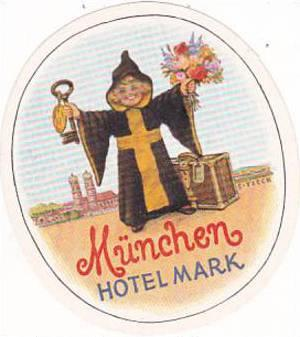 GERMANY MUENCHEN HOTEL MARK VINTAGE LUGGAGE LABEL