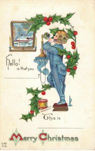 Merry Christmas Embossed Postcard Boy, Candle Stick Phone Horn and Drum