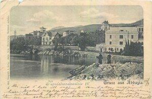 Postcard Croatia river bank