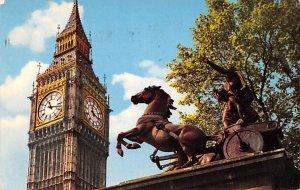 Big Ben and Boadicea Statue London United Kingdom, Great Britain, England 1962