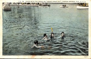 Florida Tarpon Springs Diver With The Cross On Greek Cross Day Cu...