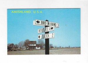 Vtg 1969 Amishland, USA  Pennsylvania Street Sign Postcard