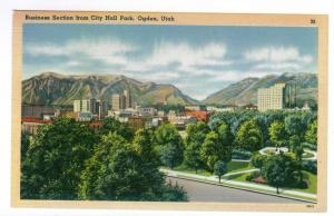 Business Section from City Hall Park, Ogden, Utah, unused linen PPC