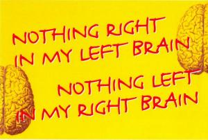 Nothing Right in My Left Brain, Nothing Left in My Right Brain Humor Postcard