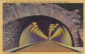 Illuminated Tunnel Near Bonneville Dam Columbia River Highway Bonneville Dam ...