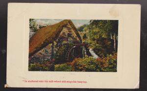 Beautiful Mill Wheel & Garden Scene - Used - Crease & Small Tear