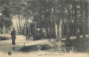 Postcard France vosges vittel dans le parc garden lake costume trees