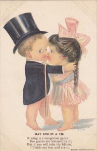Boy wearing top hat kissing girl with wearing a pink bow iin her hair, Poem, ...
