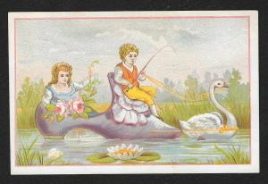VICTORIAN TRADE CARD Whimsical Boy & Girl in a Shoe