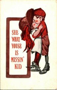 Vtg Postcard c 1930 Unused - See What Youse is Missin' Kid Valentine Romantic