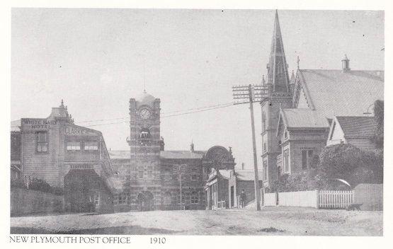 New Plymouth Taranaki New Zealand Post Office in 1910 Postcard