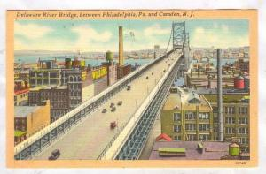 Delaware River Bridge, between Philadelphia, Pennsylvania, and Camden New Jer...